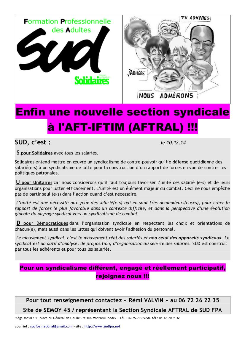Enfin une nouvelle section syndicale à AFT IFTIM