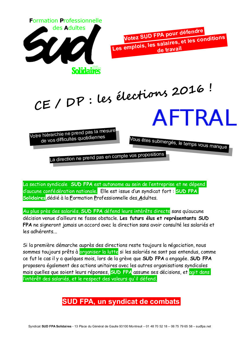 P1 Profession foi SUD FPA AFTRAL Elections professionnelles 2016