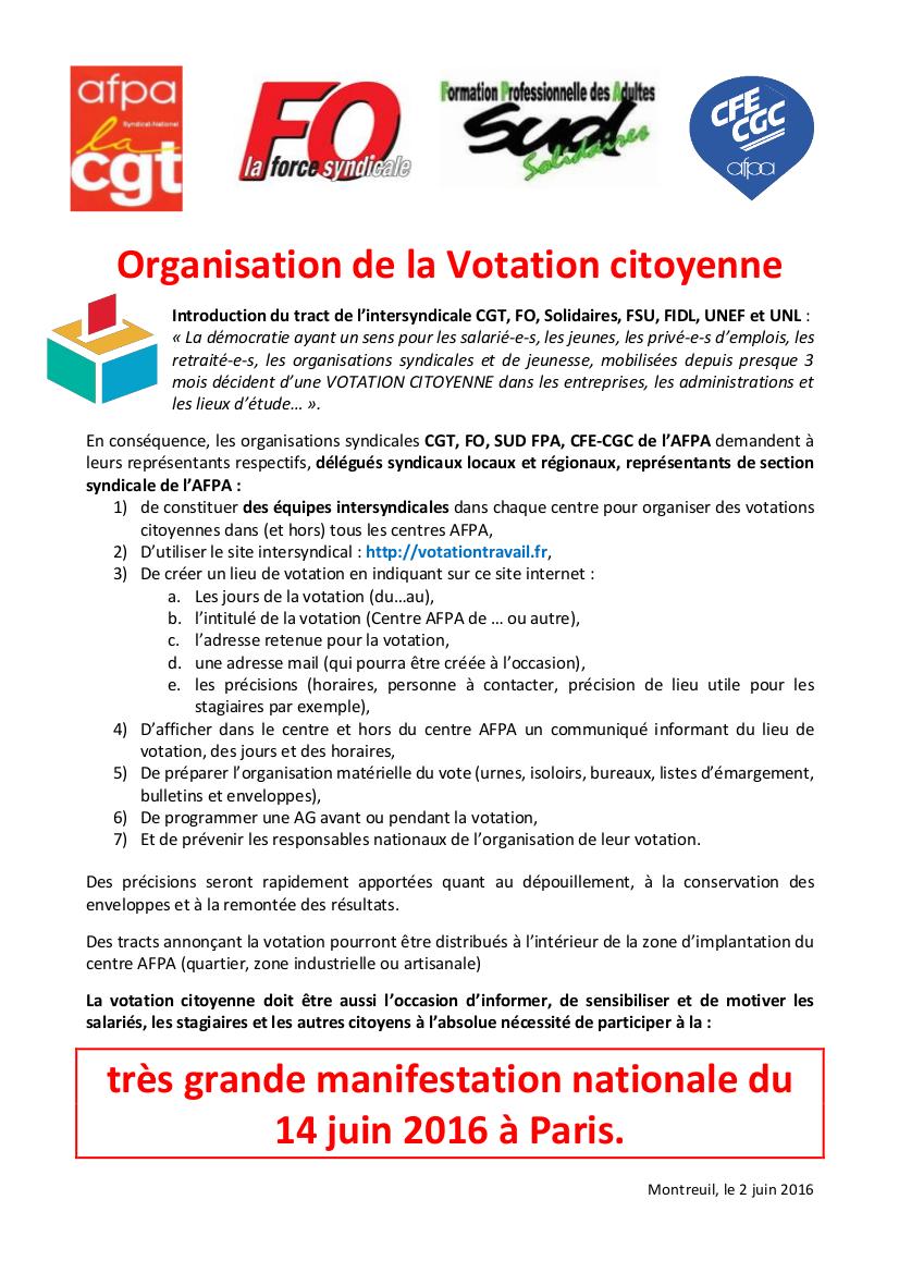 Organisation de la Votation citoyenne AFPA V3-CGC